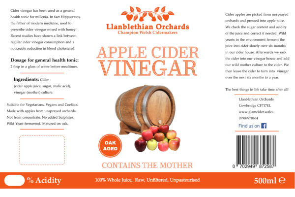 Cider Vinegar Bottle Label