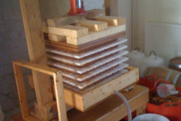 My second press made out of Welsh oak and powered by a 10 ton bottle jack. The first press was made out of pine and lasted a season before cracking. The remains of it are the wooden blocks on top of the cheeses!