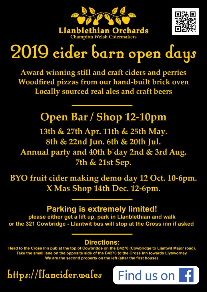 Llanblethian Orchards 2019 Barn open days poster