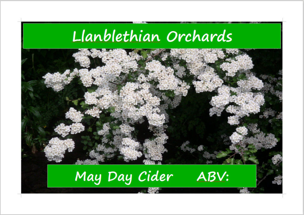 Original label design 2009,2010 ish made in word. Photo is of a hawthorn in llanblethian orchard cowbridge