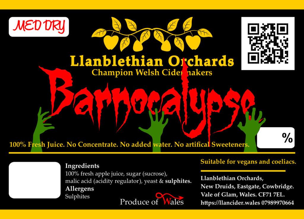 Barnocalypse label design for llanblethian orchards vale of glamorgan