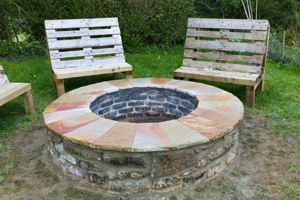 Finished stone fire pit at our cider barn south wales
