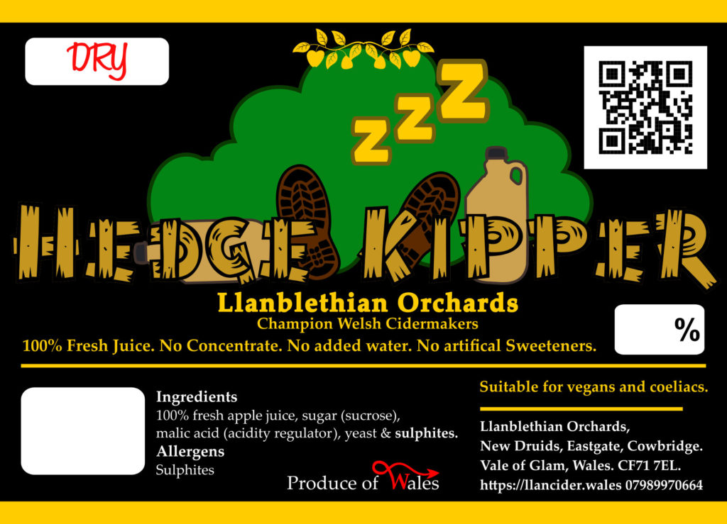 Hedge kipper label design cowbridge cider