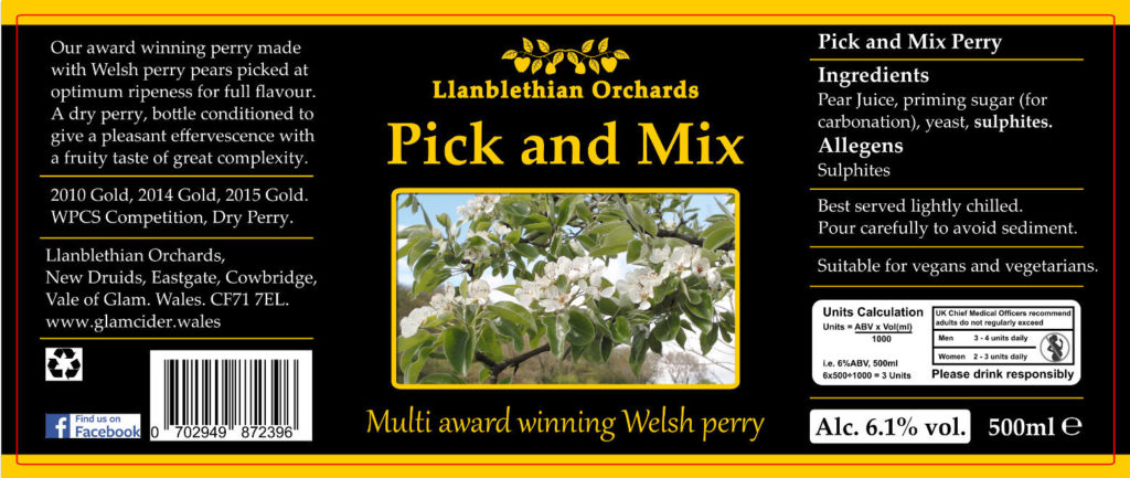 Pick and mix bottle label south wales cider