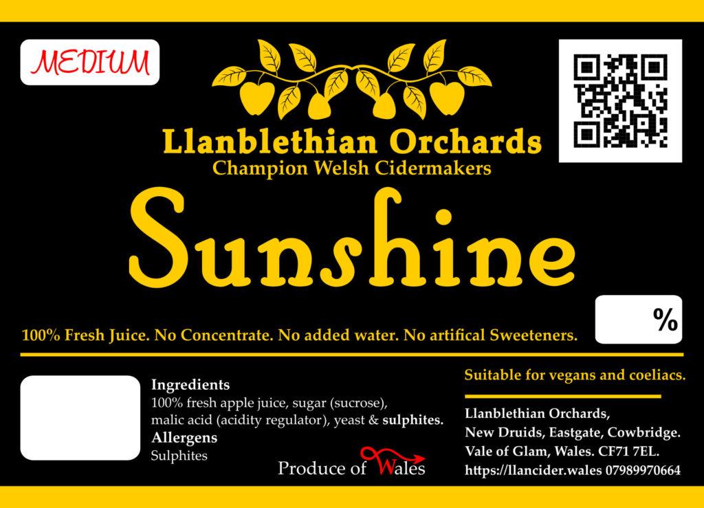 Llanblethian orchards sunshine cider label vale of glamorgan