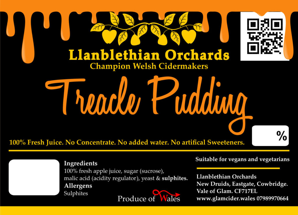 Modern treacle pudding label south wales cider