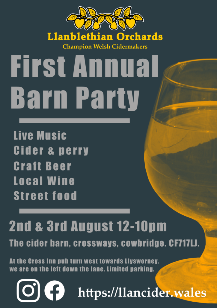 Annual barn Party poster llanblethian orchards south wales cowbridge vale of glamorgan
