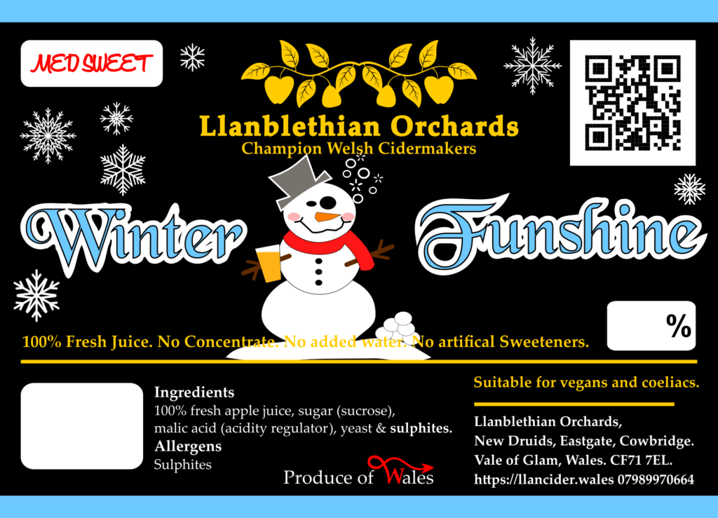 Winter funshine bag in box label